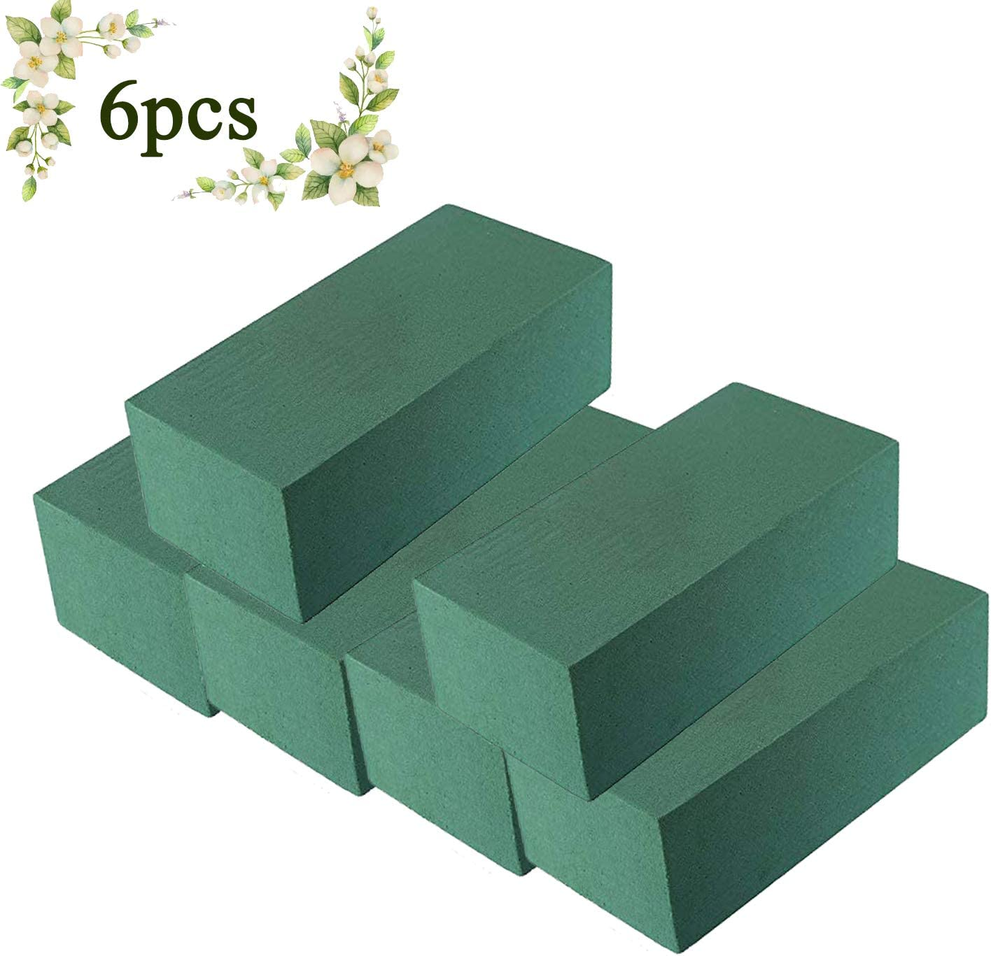 FINGOOO 6 Pack Wet Floral Foam Blocks Florist Flower Styrofoam Green Bricks Applied for Crafts or Flowers Arrangement Green