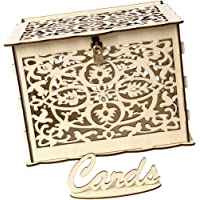 Prettyia Vintage Wedding Card Box with Lock, Hollow Out Wooden Wishing Well Card Boxes for Wedding Reception Baby Shower Anniversary Party