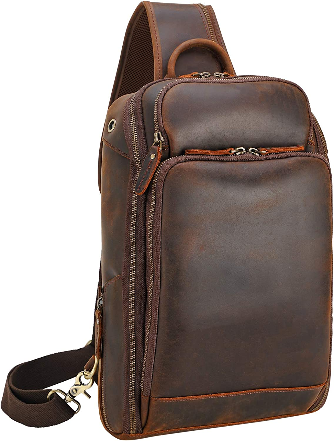 Polare Sling Bag Travel Outdoor Daypack Backpack For Men with Full Grain Leather Fits 13.3'' 14.1'' Laptop