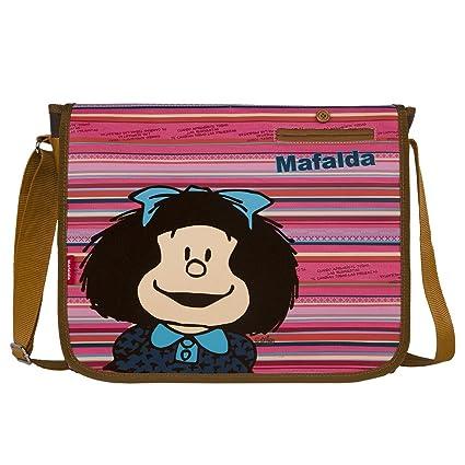 6470e0b0cede40 Chenson Mochila Escolar Tipo Mensajero Mediano Juvenil Femenino Color café  con Rosa Linea Mafalda