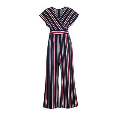 09f09c02403 Amazon.com  The Kuul Womens Bawting Sleeve V Neck Wide Leg Jumpsuit Casual  Striped Bell Bottom Pants  Clothing