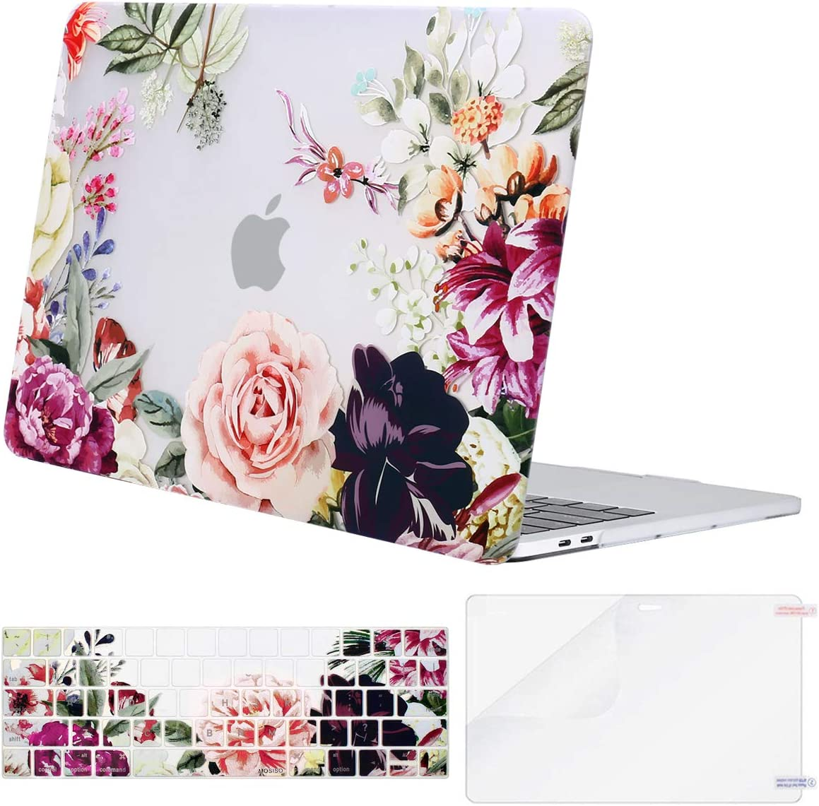 MOSISO MacBook Pro 13 inch Case 2019 2018 2017 2016 Release A2159 A1989 A1706 A1708, Plastic Rose Leaves Hard Shell Case&Keyboard Cover&Screen Protector Compatible with MacBook Pro 13 inch,Transparent