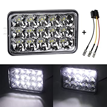 Amazon.com: YORKING 4x6 inch LED Headlights Rectangular Replacement Headlamp H4651 H4652 H4656 H6545 for Probe Oldsmobile Cutlass Peterbilt 379 KW Kenworth ...