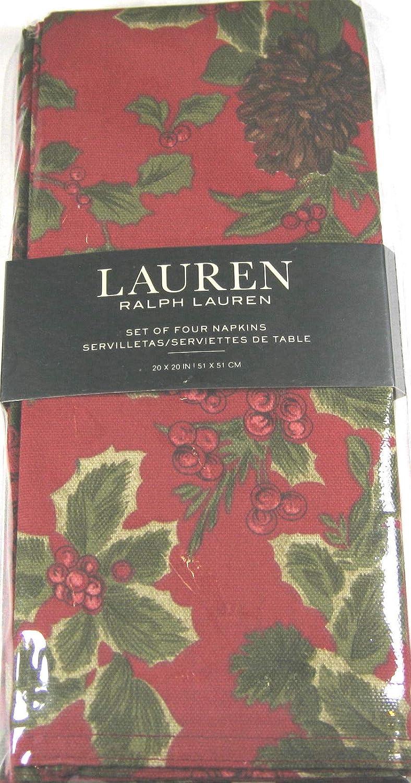Ralph Lauren Birchmontレッドonレッド背景布ナプキン、4のセット   B017O638Q0