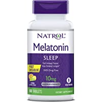 Natrol Melatonin Fast Dissolve Tablets, Helps You Fall Asleep Faster, Stay Asleep Longer, Easy to take, Dissolves in Mouth, Faster Absorption, Maximum Strength, Citrus Punch Flavor, 10mg, 60 Count
