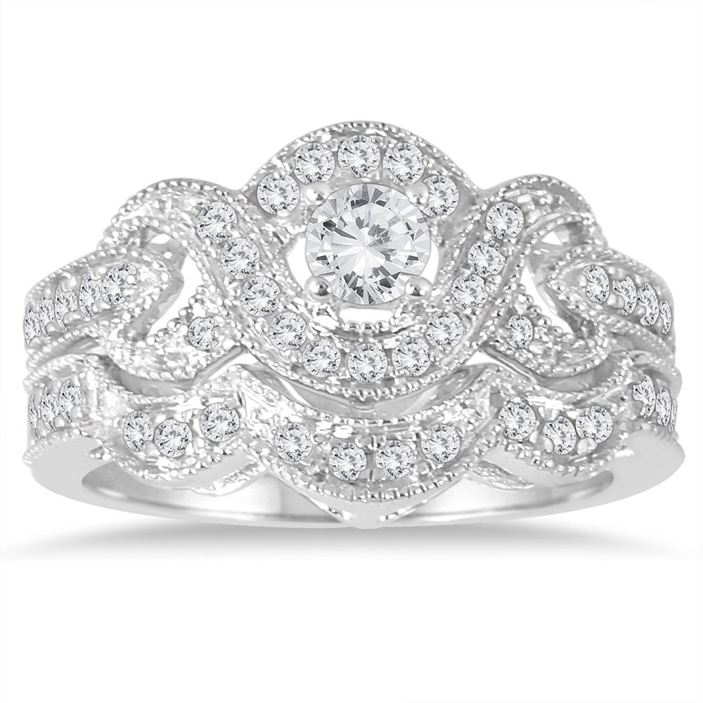 AGS Certified 5/8 Carat TW Diamond Infinity Bridal Set in 10K White Gold (K-L Color, I2-I3 Clarity)