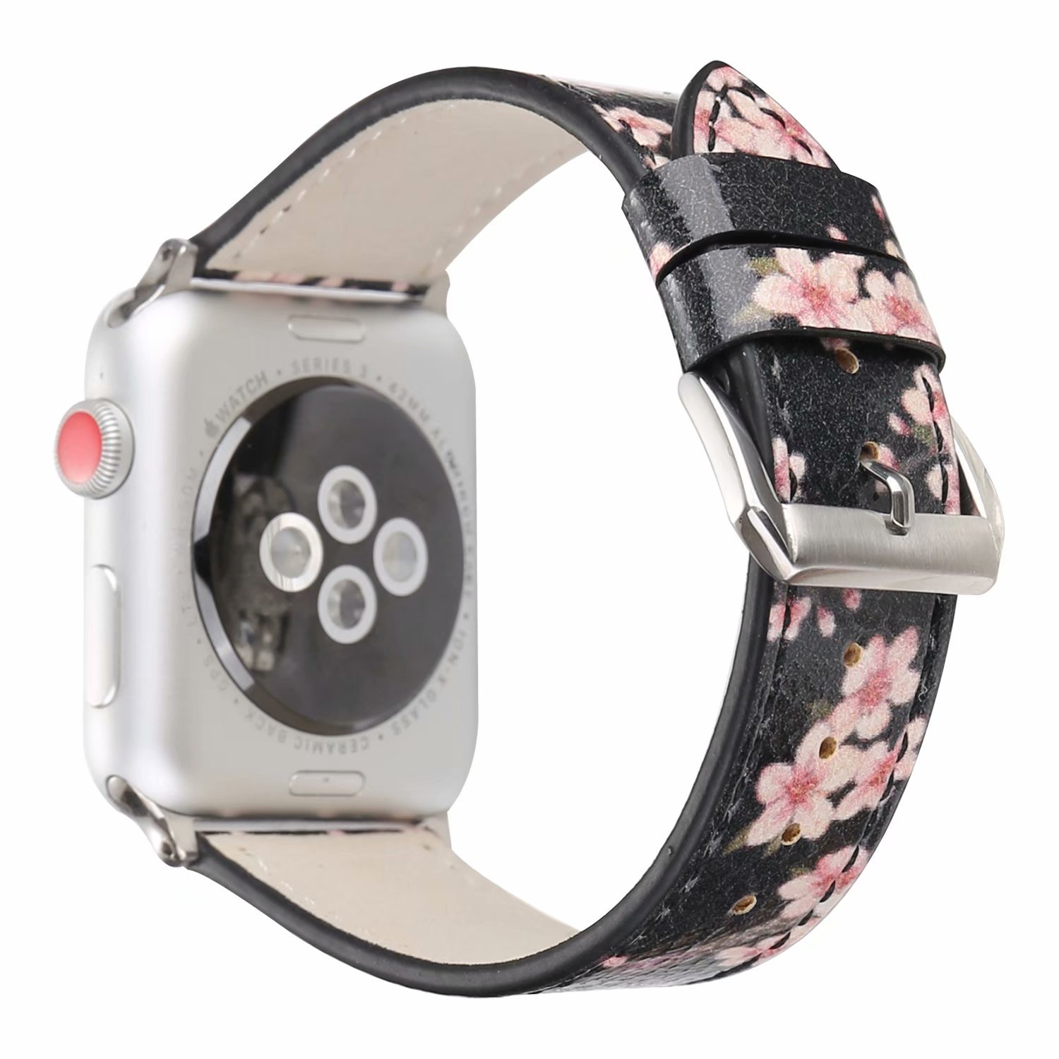 Women Girls Floral Plum Blossom Print Watch Strap Band Bracelet Replacement Compatible With Apple Watch Series 3, Series 2, Series 1