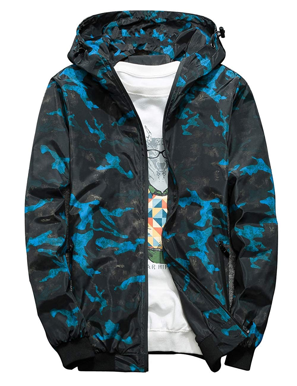 Rexcyril Mens Windbreaker Jacket Floral Bomber Jacket Lightweight Zip-up Hooded Coat