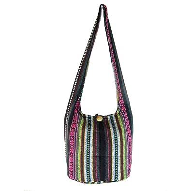 91dd3206ef Amazon.com  Aztec Yoga Bag Shoulder Crossbody for Women Bookbag for College  Hippie Hobo Sling Messenger Medium (4 Leaf Clover)  Shoes