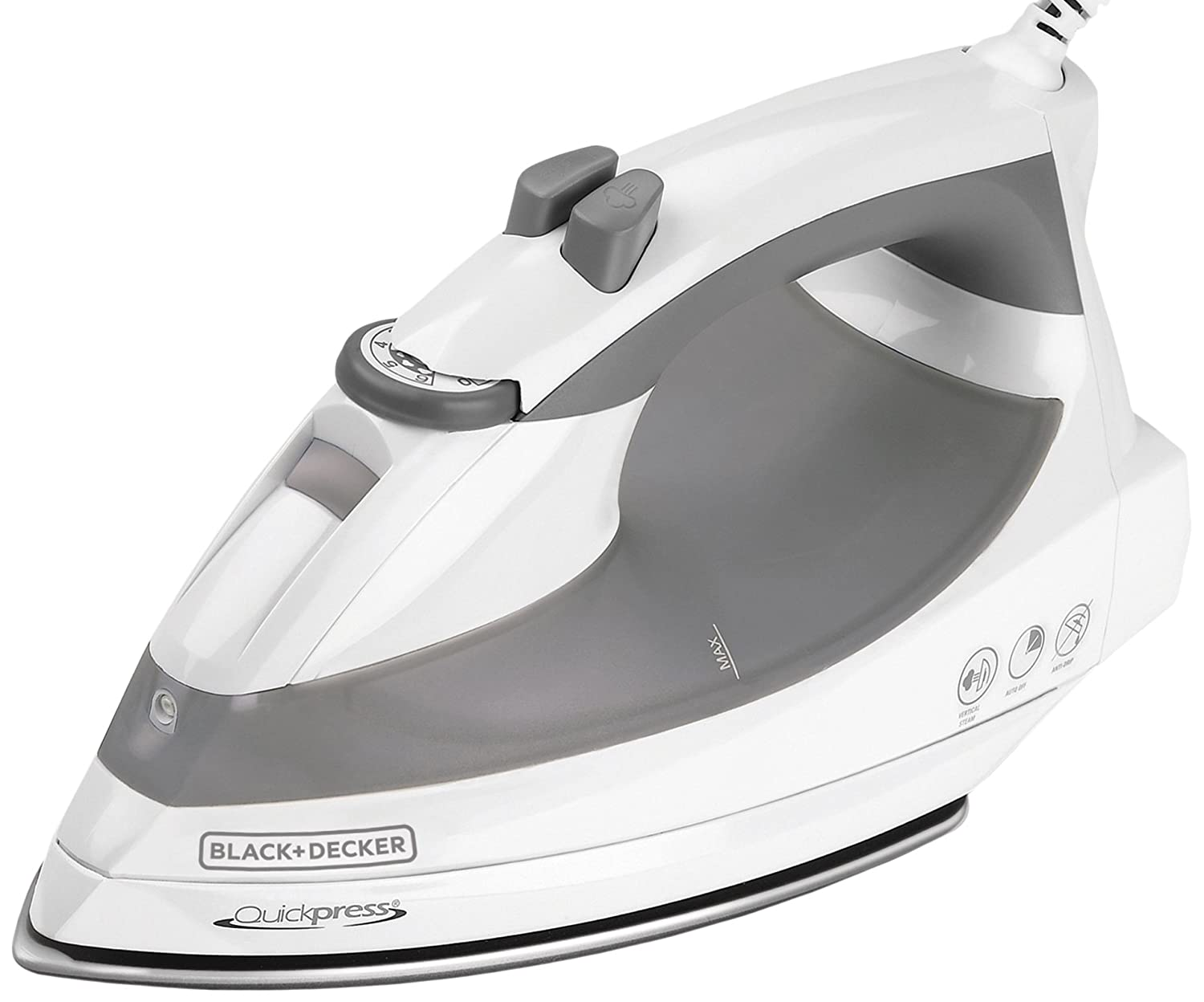 Black & Decker F976 Quickpress Iron with Smart Steam Technology, White/Silver