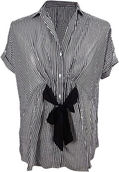 Verano Mujer Formal Ver a Trav�s de Lujo Seda Gasa Camisa Blusa Parte Superior Con Smoking Corbata Negro: Amazon.es: Ropa y accesorios