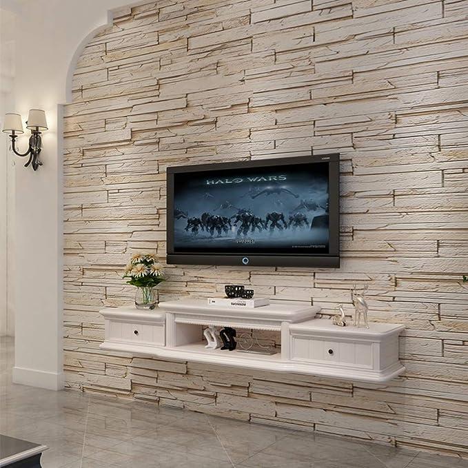 Consola de medios montada en la pared Rack de TV flotante Conjunto de rack Rack decodificador Armario de TV montado en la pared Cabina de pared plana pequeña (color : Blanco ,