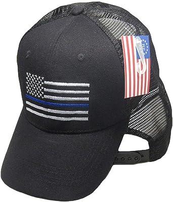 Black MESH Grey USA Thin Blue Line Cap Low Profile Hat Support Law Enforcement