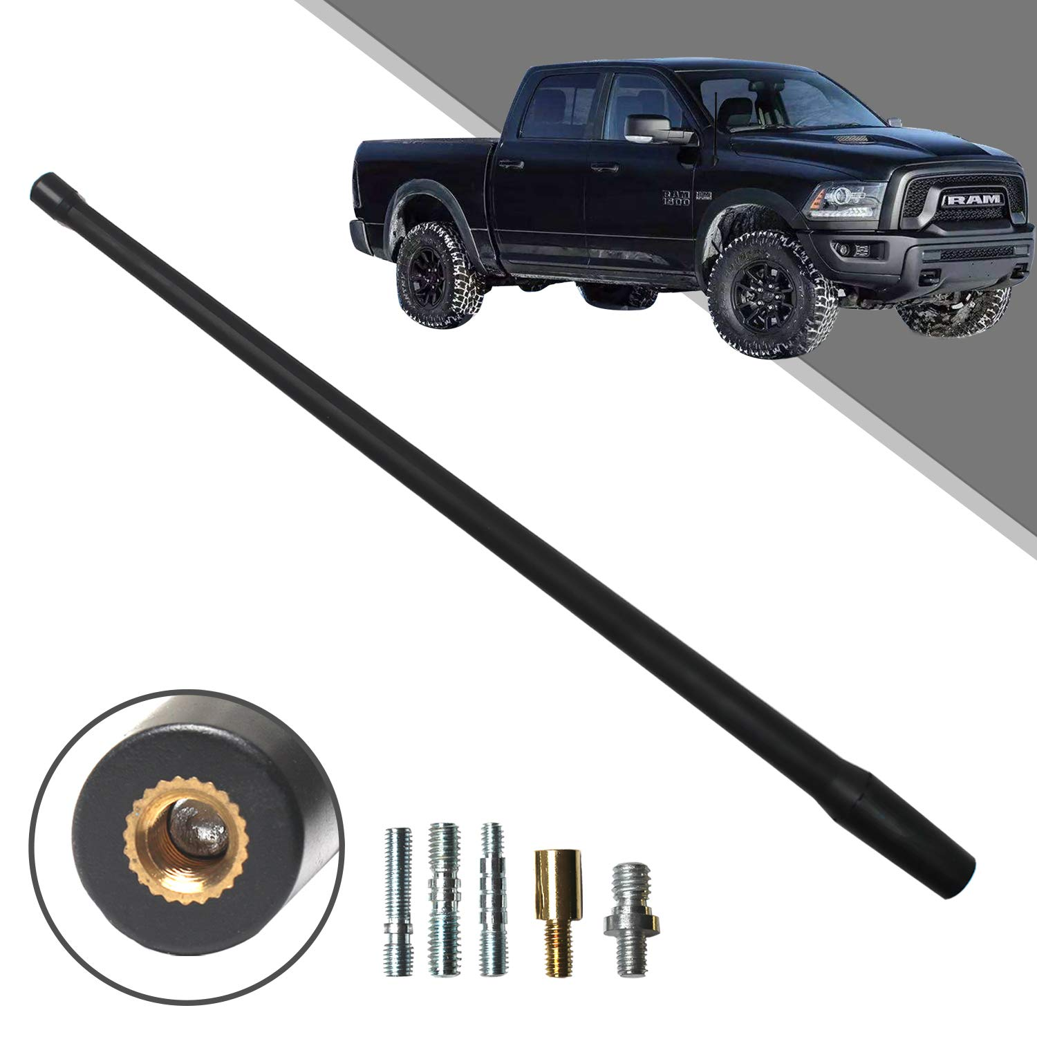Optimized FM//AM Reception. Beneges 13 Inch Flexible Rubber Replacement Antenna Compatible with 1994-2019 Dodge Ram 1500 Trunk