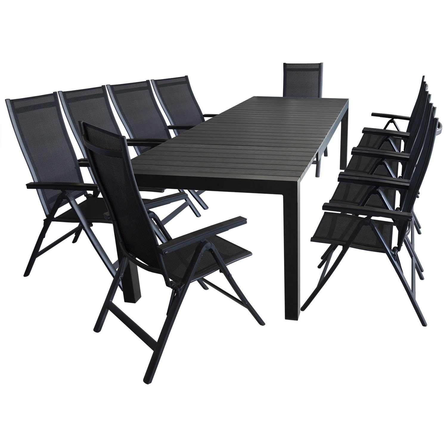 11tlg gartenm bel terrassenm bel set sitzgruppe gartengarnitur aluminium ausziehtisch 224. Black Bedroom Furniture Sets. Home Design Ideas