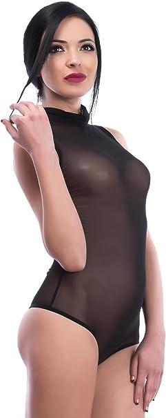 Verschluss-Haken Frauen-Unterw/äsche transparenter T/üll-Bodysuit mit Halbkragen Evoni Damenbody hochwertiger Miederbody /Ärmelloser String-Body Verschiedene Farben /& Gr/ö/ßen