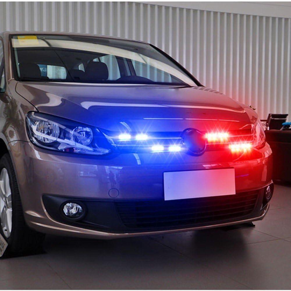 BOFEISI 16W V/éhicule Avant Pont De Voiture Grille LED Stroboscopique Lumi/ère avec 7 Modes de Clignotant De Voiture Avertissement De Danger Avertissement Stroboscopique Lampe DC12-24V,Amber