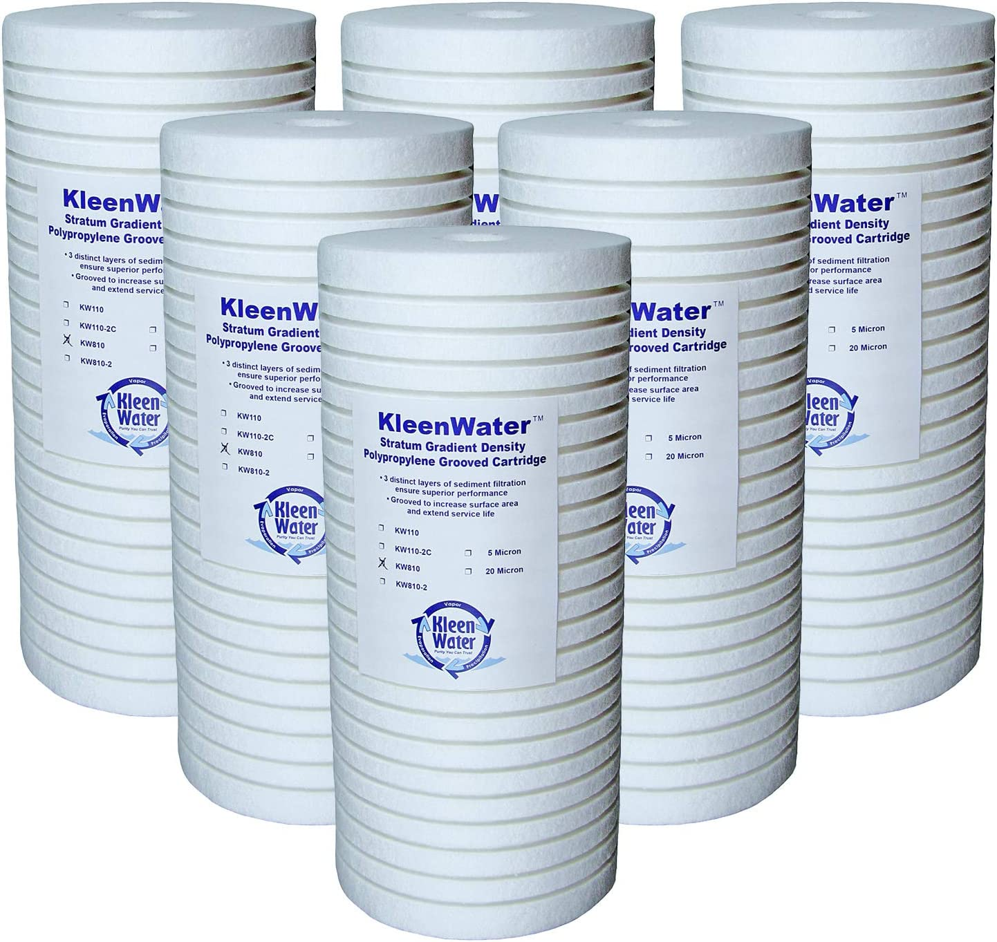 KleenWater KW810 Replacement Water Filter Cartridges, Compatible with Aqua-Pure AP810, 5 Micron Dirt Rust Sediment Whole House Filters, Set of 6