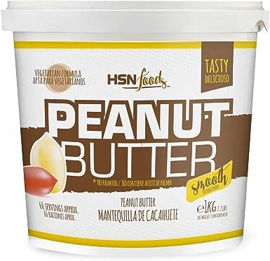 Mantequilla de Cacahuete de HSN | Textura Suave y Cremosa - Peanut Butter Smooth - 100% Natural | Apto Vegetariano, Sin grasa de palma, Sin grasa ...