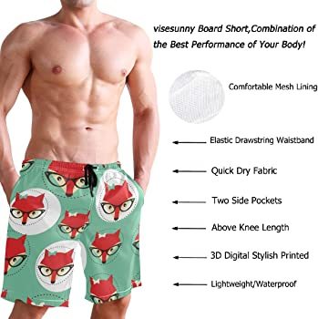 Cute Cartoon Sharks Pattern Mens Beach Board Shorts Surf Yoga Beachwear
