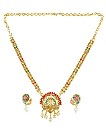814119447b Buy Adorelabel Peacock Design Gold Plated Ruby Emerald Stones Pearl Drops  Necklace Set with Earrings Wedding Collection Jewellery Sets for Women and  Girls ...