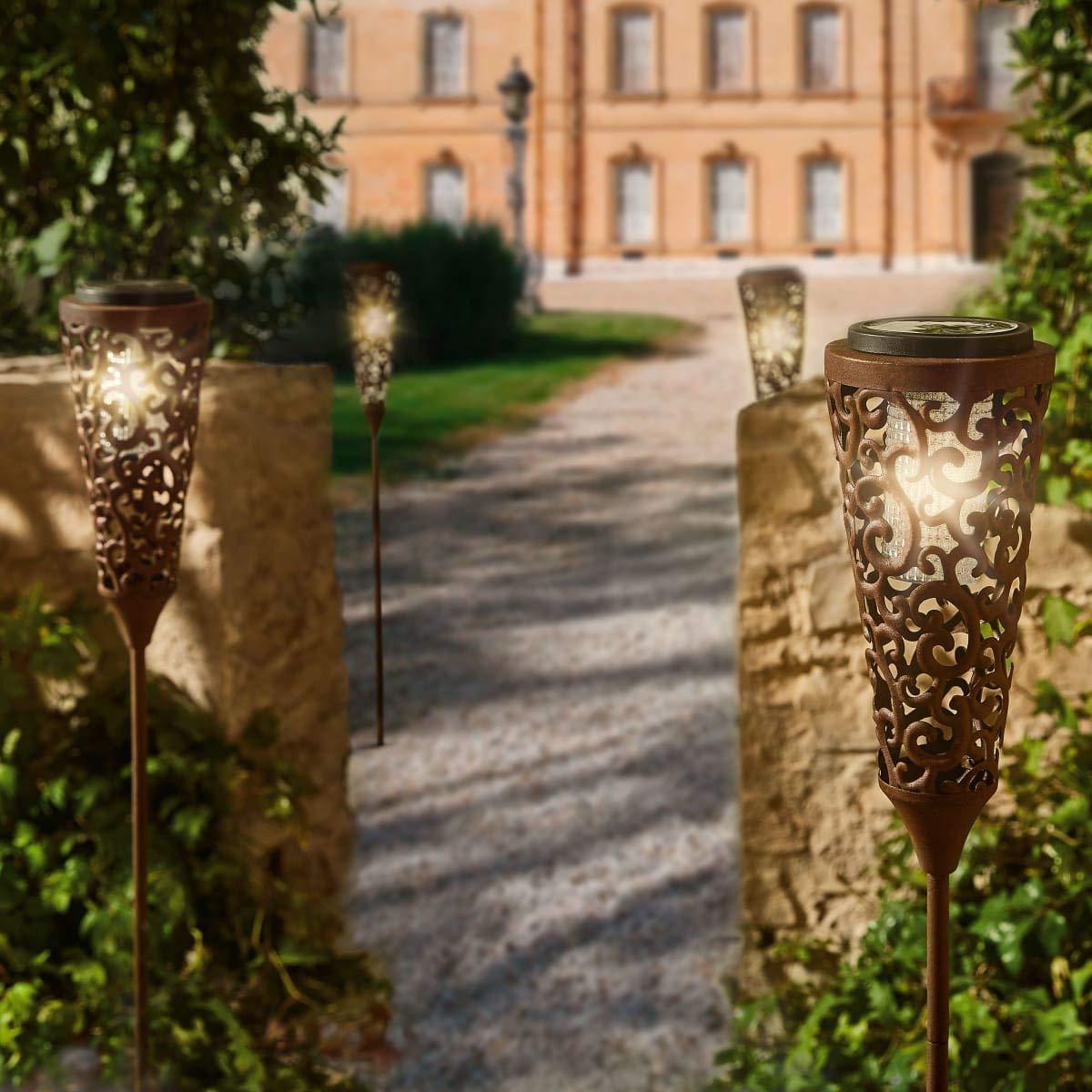 100 cm Pureday miaVILLA Solarleuchte Barock H/öhe ca Metall Rost-Optik Gartenstecker