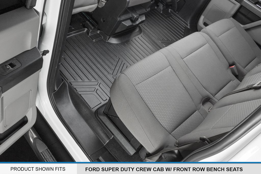 MAX LINER A0298/B0298 Custom Floor Mats 2 Liner Set Black for 2017-2019 Ford F-250/F-350 Super Duty Crew Cab with 1st Row Bench Seat by MAX LINER (Image #4)