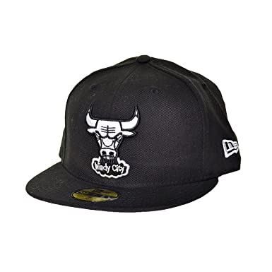 e3c9c2ae9f5 New Era Chicago Bulls 59Fifty Fitted Hats Athletic Caps Black White  10056609 (Size 7