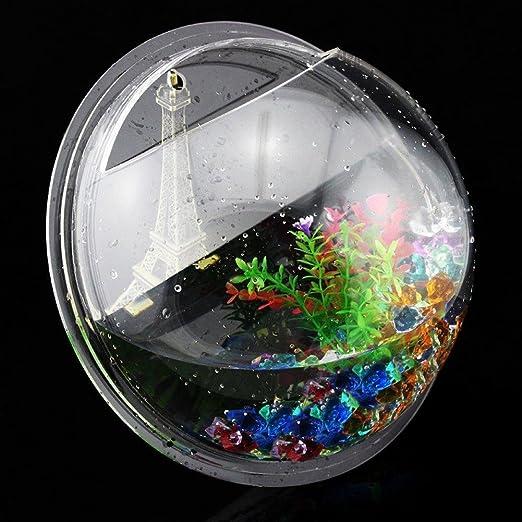 homecube tamaño grande colgar en la pared Burbuja Fish Tank maceta soporte de pared acrílico piedras de cristal pecera decoración con/colorido piedras/falsa ...
