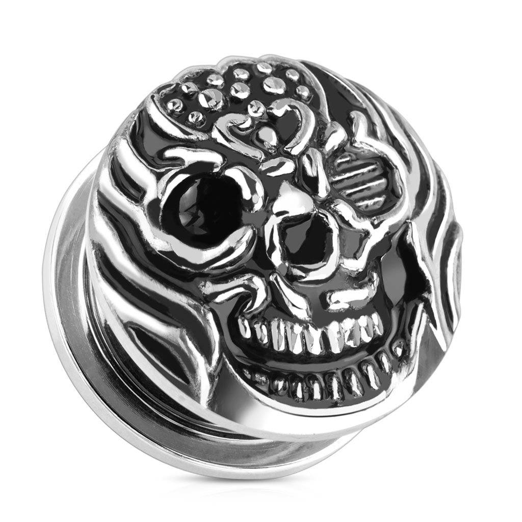 Dynamique FIRE SKULL 316L SURGICAL STEEL SCREW FIT PLUGS SOLD PER PAIR