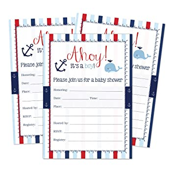 Nautical Baby Shower Invitations For A Boy Fill In Style 20 Count