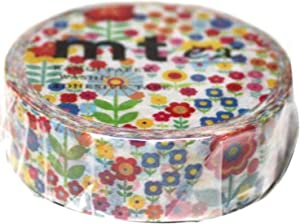 MT Washi Masking Tape, Littler Flowers Garden, 15mm x 10m (MTEX1P101)