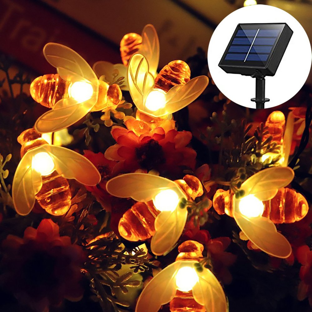 Solar Powered String Lights, Honeybee 30LED Lights, 21FT 8 Modes Starry Lights, Waterproof Fairy Decorative Lights for Outdoor, Wedding, Homes, Gardens, Patio, Party
