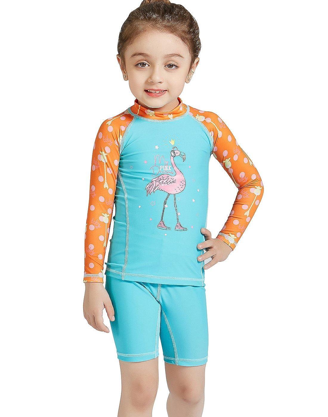 DIVE/&SAIL Girls Long Sleeve Rashguard with Shorts Set 2-Piece Swimwear 4-9Y