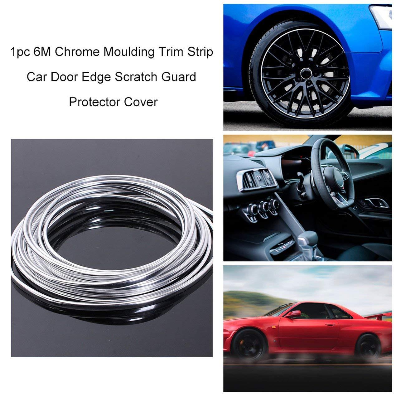 Nuevo 6M moldura cromada moldura tira de puerta de coche borde protector de ara/ñazos cubierta de tira rollo plata