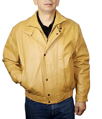 Men S Genuine Pig Napa Double Breast Mango Color Bomber Jacket At