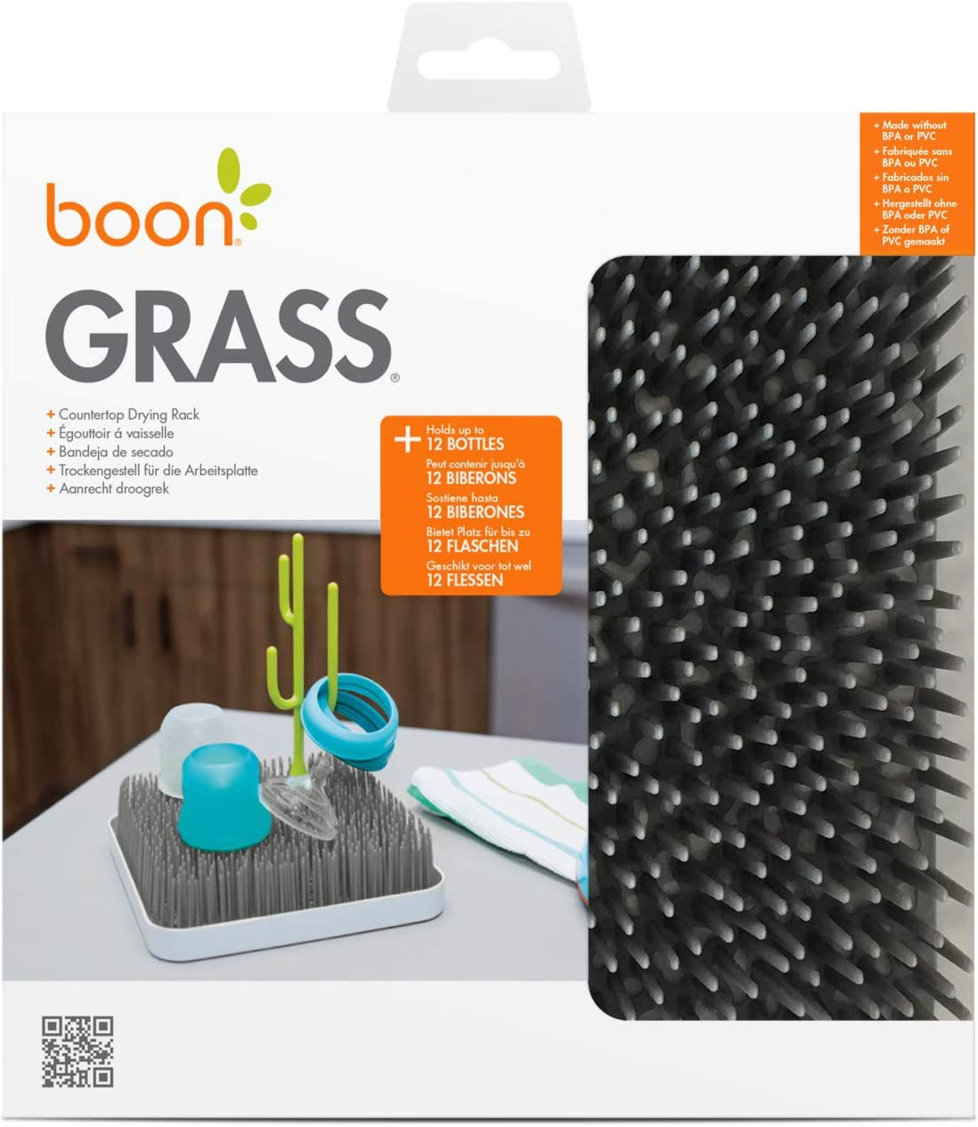 BPA Free Baby Essentials for Parents to Be Ideal Baby Shower Gift for New Parents Stylish Nursery Accessories Grey Boon Grass Baby Bottle Dryer Rack