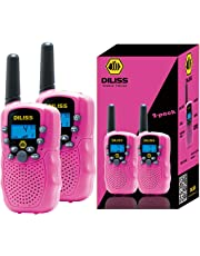 DILISS Walkie Talkies for Kids Voice Activated Walkie Talkies for Adults and Kids 3 Mile Range 2 Way Radio Walkie Talkies Built in Flash Light 2 Pack - Pink