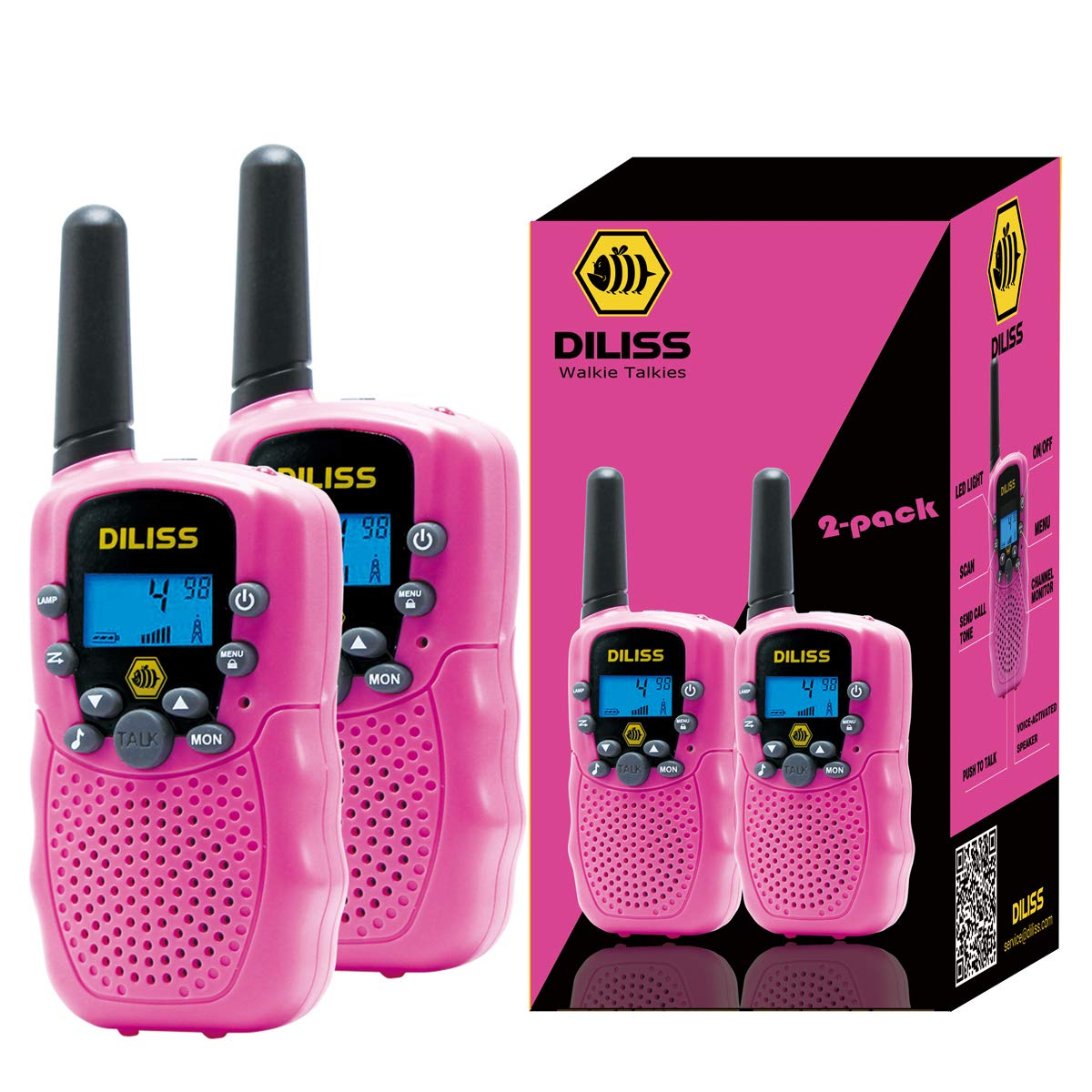 Walkie Talkies for Kids, 22 Channels FRS/GMRS Uhf Two Way Radios 4 Mile Handheld Mini Kids Walkie Talkies for Kids Best Gifts Kids Toys Built in Flashlight 2 Pack - Pink