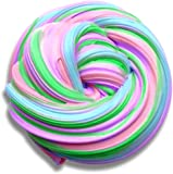 Fluffy Slime, 6 OZ (Multicolored 4) Stretchy & Soft Scented Non-sticky Stress Relief No Borax Sensory Play Sludge Toy for Kids & Adults