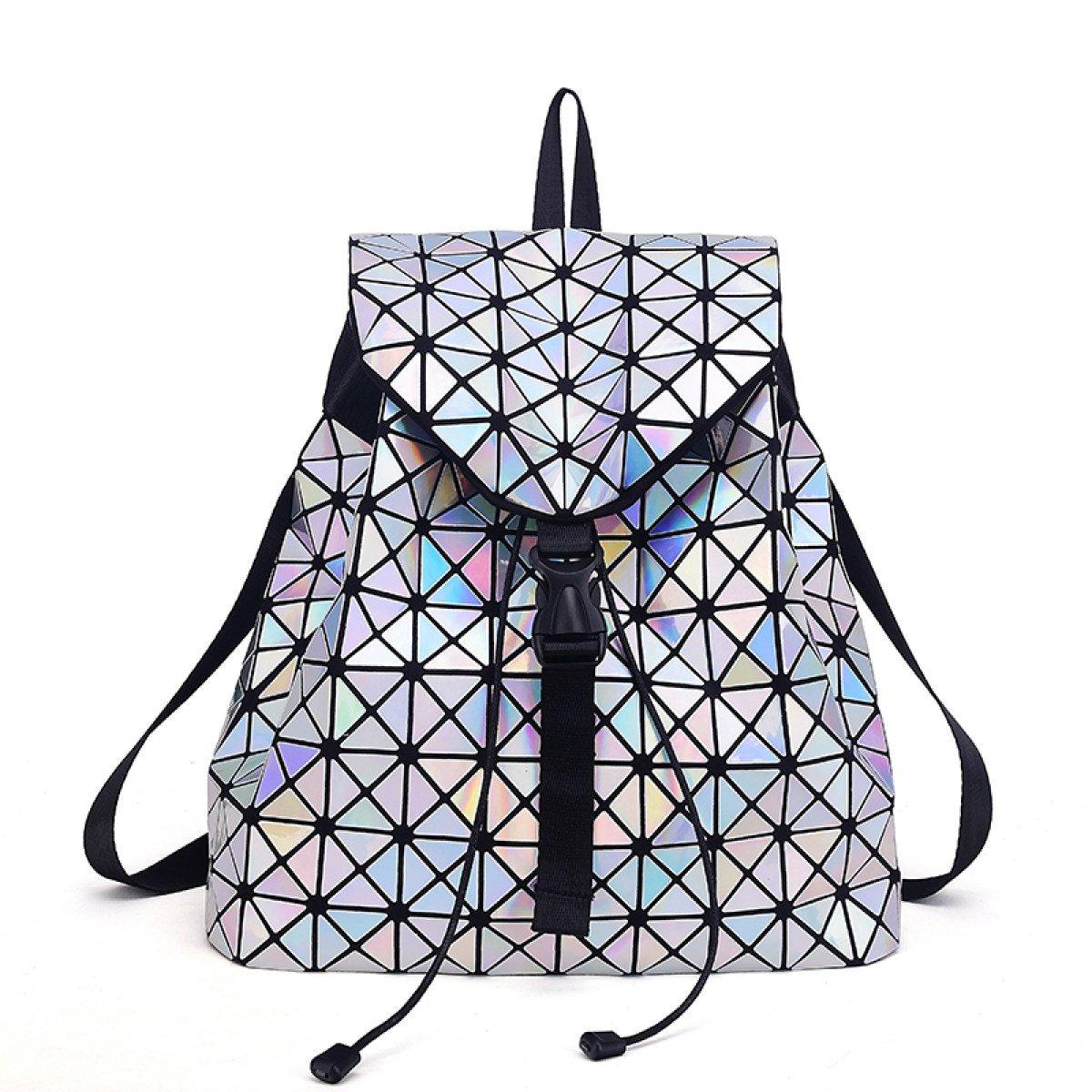 LaserSilver Geometric Laser Ladies Backpack Travel Shoulder Bag Briefcase Backpack,Black