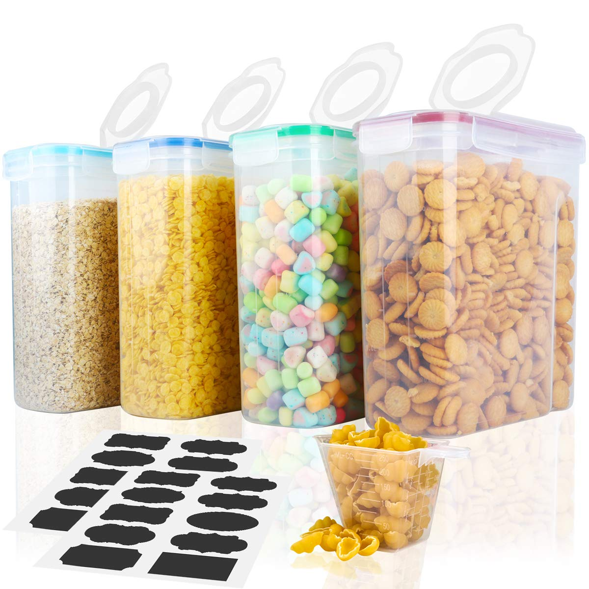 Cereal Container,MCIRCO Food Storage Containers,Airtight Flour Containers Keeper Set of 4