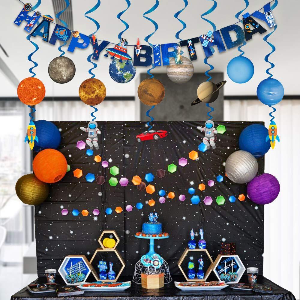 """Konsait Sistema Solar Decoraci/ón Colgante remolinos y Bandera Banderines /"""" Happy Birthday/"""" para Beb/és Infantiles Ni/ños Cumplea/ños Fiesta Decoraci/ón Suministros"""