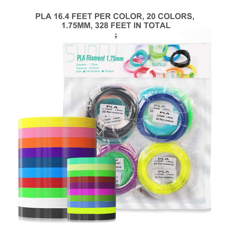 10 Colors, 16.5 Feet Each ,SUNLU 1.75mm PLA 3D Printing Pen Filament Free Stencils Ebook // 5Meters Each Color SUNLU PLA 3D Pen Filament Refills Total 50 Meters