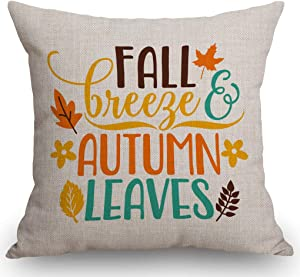 SSOIU Fall Quote Autumn Saying Pillow case - Fall Breeze Autumn Leaves Cotton Linen Decorative Home Office Throw Pillow Case Couch Cushion Cover 18X18 inches
