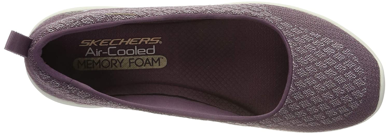 Skechers Damen Arya-Get Real Geschlossene Ballerinas, Schwarz Violett (Purple Pur)