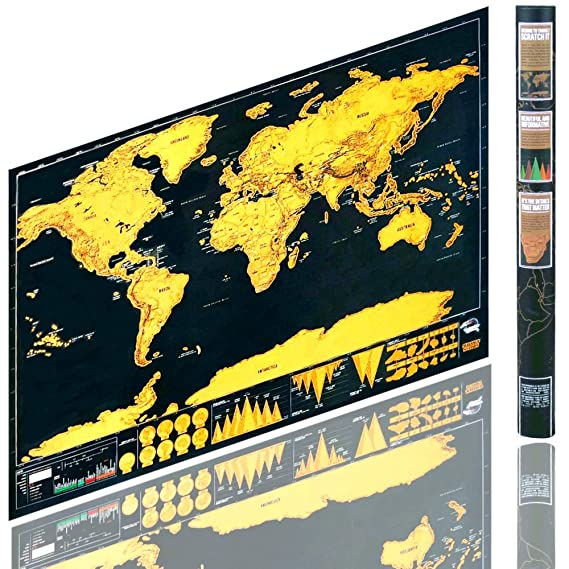 Kartographie Equipment 82 x 60 cm Berry King Travelgoals Weltkarte Landkarte Worldmap freirubbeln kratzen Schwarz//Gold inkl