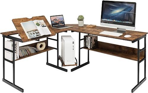 Tangkula 67 inches L-Shaped Desk