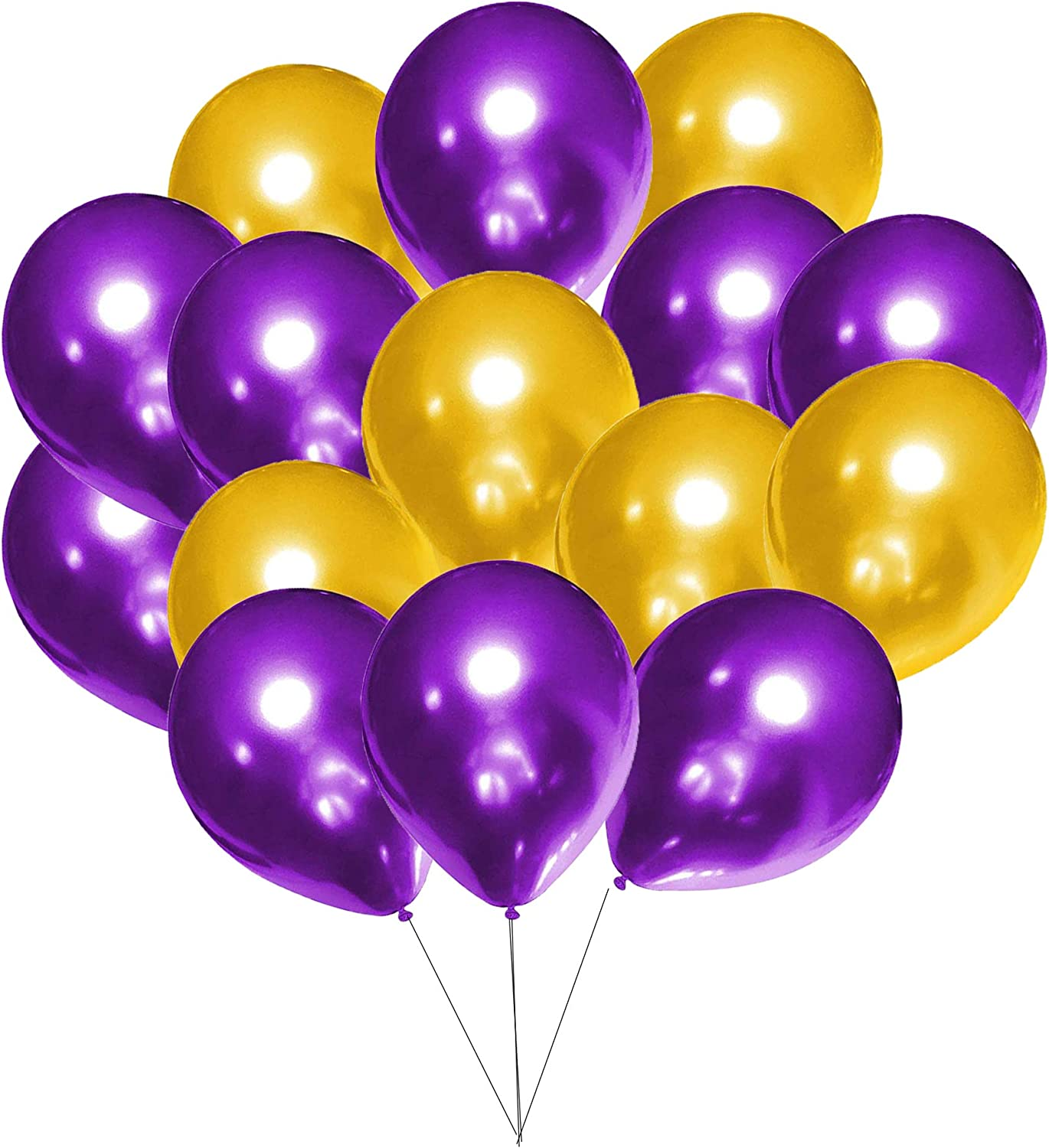 60Pcs Purple and Gold Balloons Set for 2021 Graduation Decoration Purple and Gold, Purple Gold Royal Queen Birthday Party, Purple and Gold Baby Shower Bridal Party Decorations (12 Inches)