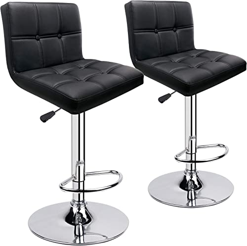 Leopard Black Square Back Bar Stools, Set of 2, Adjustable PU Leather Chair, Double Stitching with Decoration Swivel Bar Stool